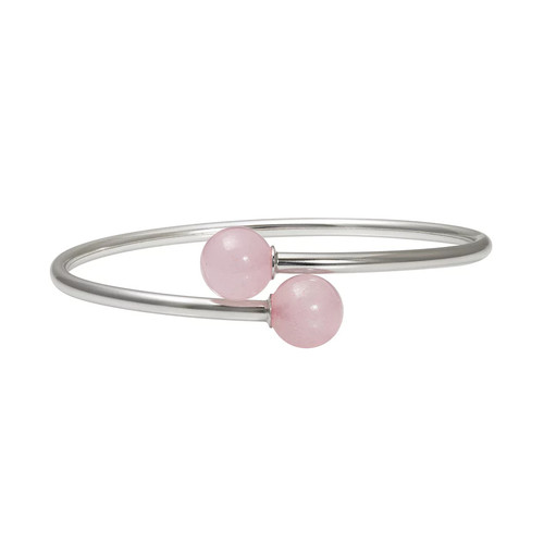 Sterling Silver Rose Quartz Bypass Bangle Bracelet