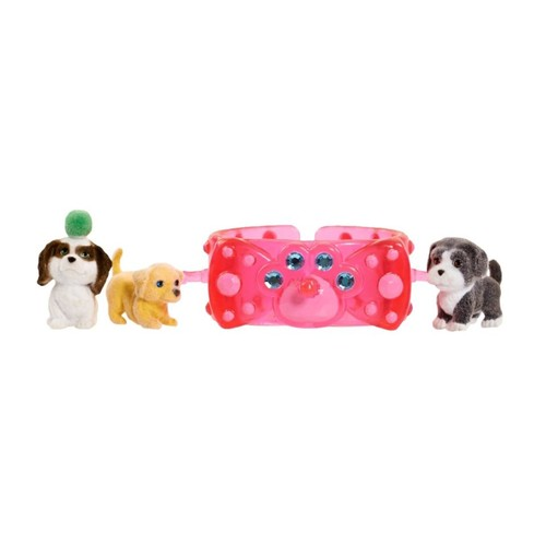 Puppy in My Pocket 3 Charm Puppies with Bracelet - Pink