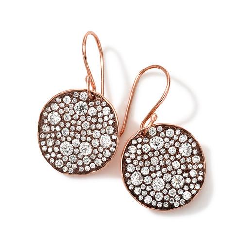 18k Rose Gold Stardust Flower Diamond Drop Earrings
