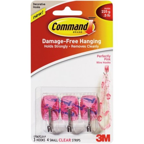 Command Perfectly Pink Small Wire Hooks, 3 Hooks, 4 Clear Strips, 17067CLR-P