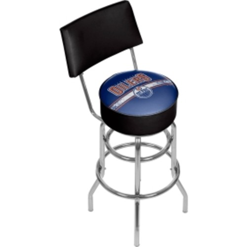Trademark Games Edmonton Oilers Padded Swivel Bar Stool with Back