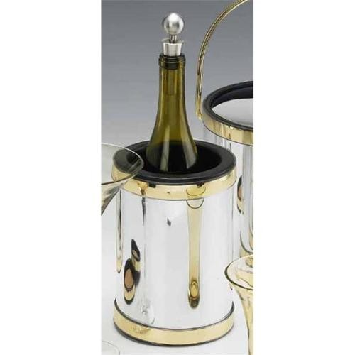Kraftware 75978 Mylar Polished Chrome and Brass Deluxe Wine Chiller with Bands