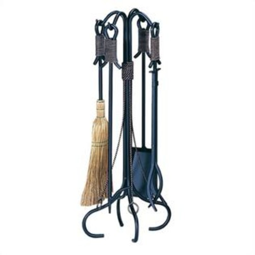 Uniflame 5 Piece Black Wrought Iron Fireset with Copper Rope