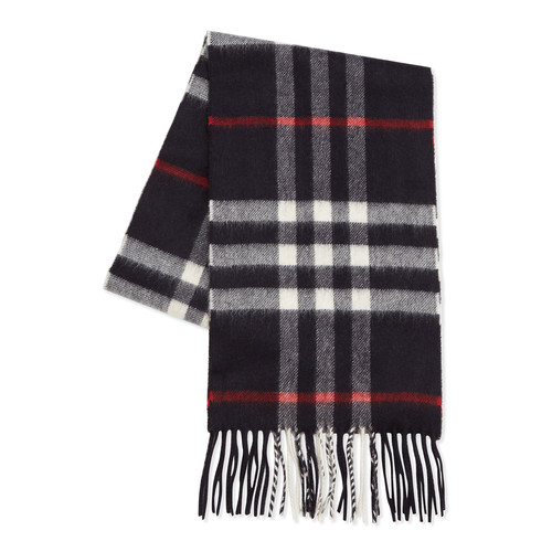 BURBERRY Cashmere Exploded Check Scarf, Navy
