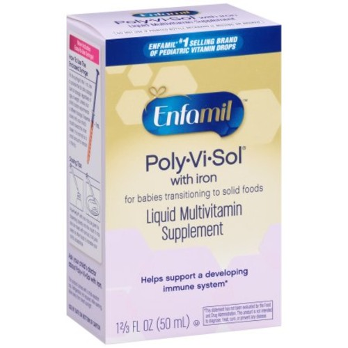 Enfamil Poly-Vi-Sol Multivitamin Supplement Drops with Iron for Infants and Toddlers, 50 mL