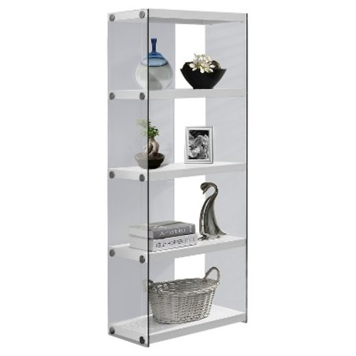 Hollow Core/Tempered Glass Bookcase - Glossy White - Monarch Specialties