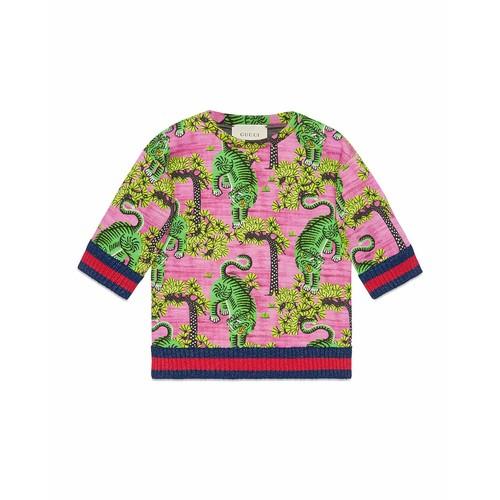 GUCCI Bengal Print Cotton Sweatshirt, Size 4-12