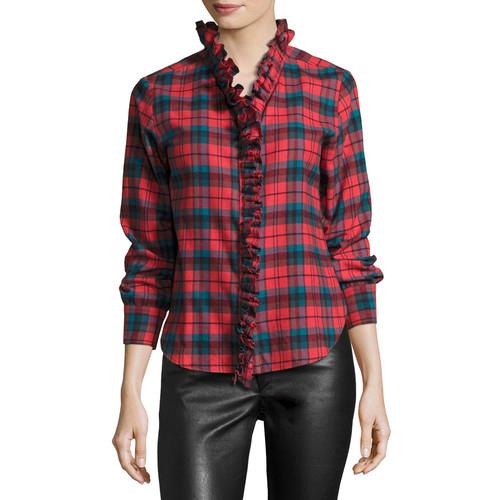 ETOILE ISABEL MARANT Awendy Plaid Ruffled Flannel Shirt