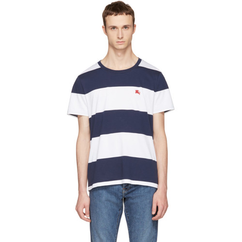 BURBERRY Navy & White Large Stripe Logo T-Shirt