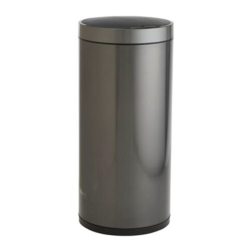 EKO Round 50-Liter Stainless Steel Sensor Trash Bin in Black