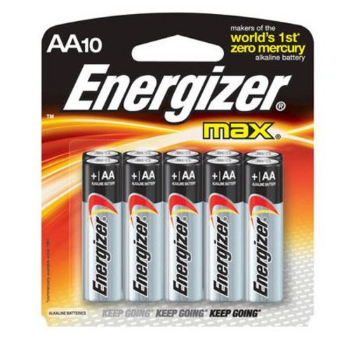 Energizer Max AA Batteries, 1.5V Alkaline, Pack of 10 E91CP-10