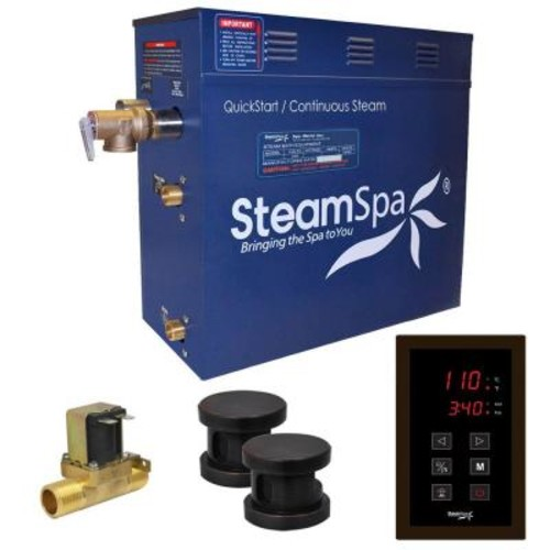 SteamSpa Oasis 12kW QuickStart Steam Bath Generator Package with Built-In Auto Drain in Polished Oil Rubbed Bronze