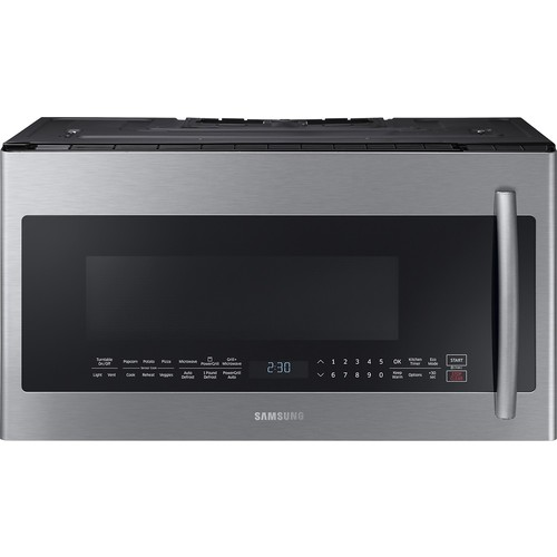 Samsung - 2.1 Cu. Ft. Grilling Over-the-Range Microwave with Sensor Cooking - Stainless Steel