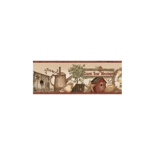 Chesapeake Abraham Wheat Count Blessings Portrait Wallpaper Border Sample