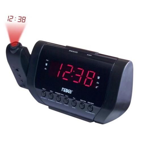 Naxa NRC-167 Projection Dual Alarm Clock Radio with USB Charge Port NRC-167