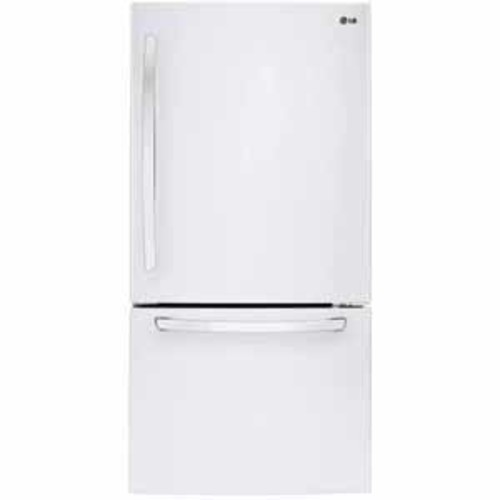 LG 22 cu.ft. Large Capacity 30 Wide Bottom Freezer Refrigerator - White