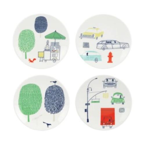 Hopscotch Drive About Town Tidbit Plates, Set of 4