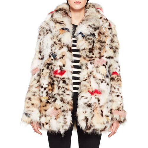 Color-Splashed Fox Fur Coat