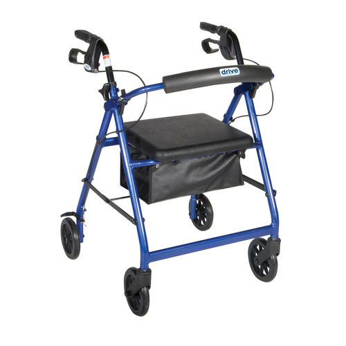 Drive Medical Blue Rollator Walker with Fold Up and Removable Back Support and Padded Seat