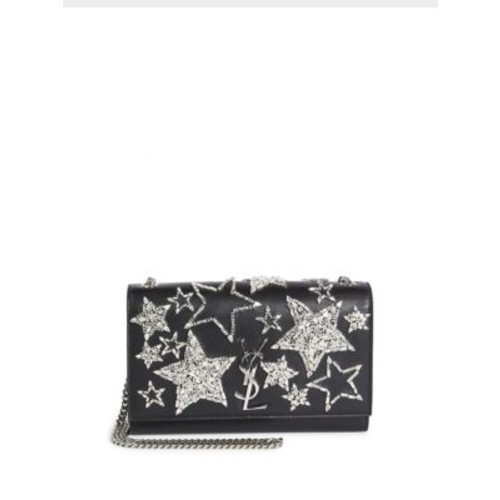 SAINT LAURENT Kate Monogram Crystal Star & Leather Chain Shoulder Bag
