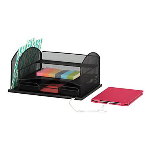Safco USB Powered Onyx Mesh Desk Organizer, 3-Drawers, Black