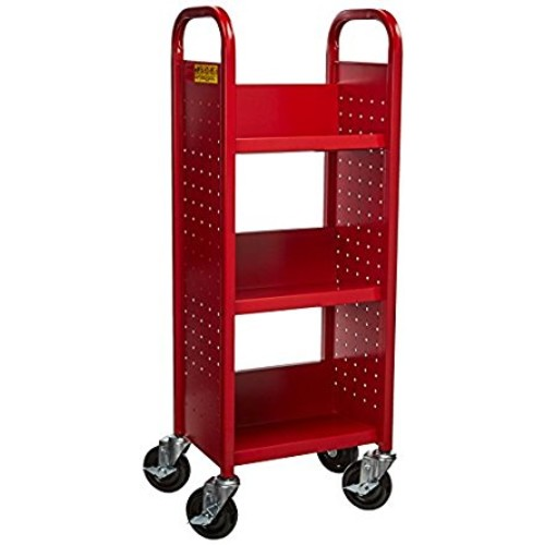 Sandusky Lee SL33017-01 Single Sided Sloped Shelf Book Truck, 14