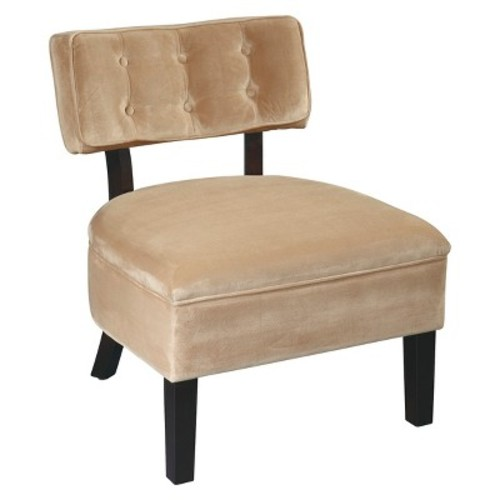 AVE SIX Curves Button Accent Chair with Espresso Finish Solid Wood Legs, Coffee Velvet Fabric [brown, Button Accent]