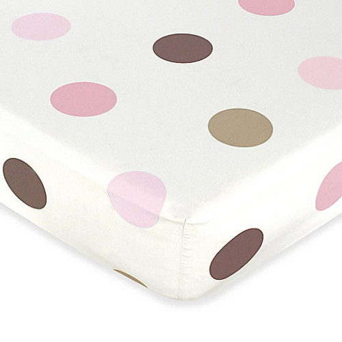 Sweet Jojo Designs Mod Dots Collection Crib Sheet in Pink/Chocolate