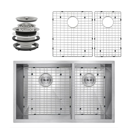 AKDY Handcrafted All-in-One Undermount Stainless Steel 33 in. x 22 in. x 9 in. Double Bowl Kitchen Sink with Grid and Drain