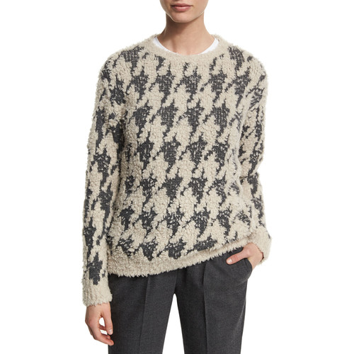 BRUNELLO CUCINELLI Paillette Houndstooth Pullover Sweater, Gray Pattern