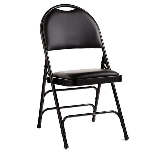 Samsonite Comfort Series Steel & Bonded Leather Folding Chair w/Memory Foam (Case/4)