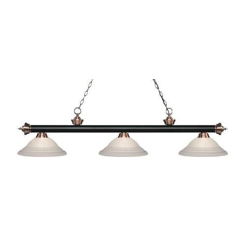 Filament Design Beck 3-Light Matte Black and Antique Copper Island Light with White Swirl Glass