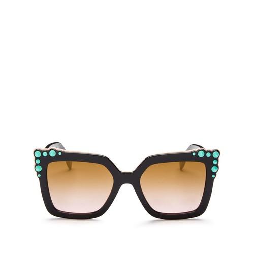 FENDI Square Embellished Sunglasses, 52Mm