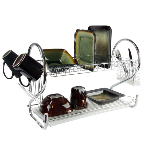 Mega Chef 16 Inch Two Shelf Dish Rack with Easily Removable Draining Tray, 6 Cup Hangers and Removable Utensil Holder
