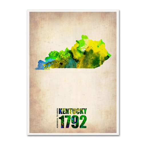 Trademark Global Naxart 'Kentucky Watercolor Map' Canvas Art [Overall Dimensions : 18x24]