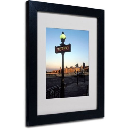 Le Metro at Dusk by Kathy Yates Matted Framed Art with Black Frame, 11 by 14-Inch [11 by 14-Inch]