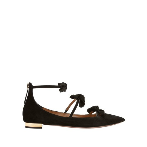 AQUAZZURA St Tropez Strappy Bow Suede Point Toe Flats