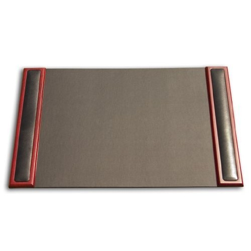 Dacasso Rosewood and Leather Desk Pad with Side-rails, 25.5 by 17.25 Inch