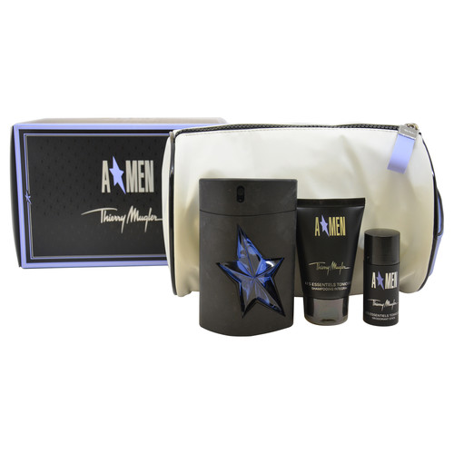 A*Men by Thierry Mugler for Men - 4 Pc Gift Set 3.4oz EDT Spray, 1.7oz Hair and Body Shampoo, 0.7oz Deodorant Stick, Pouch
