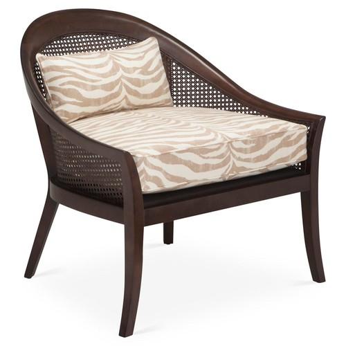 Biloxi Cane Accent Chair, Taupe Zebra