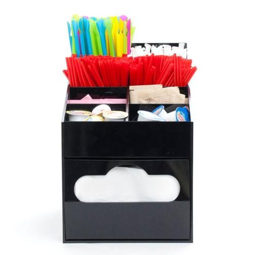 Mind Reader 8-Compartment Condiment Organizer With Napkin Holder, Black