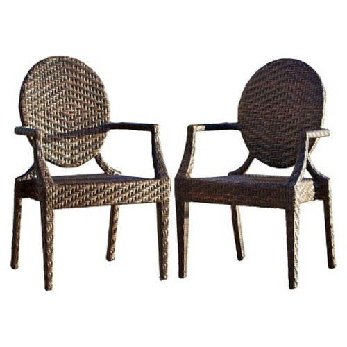 Adriana Set of 2 Wicker Patio Chairs - Brown - Christopher Knight Home