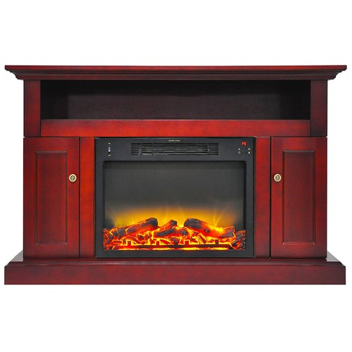 Cambridge Sorrento Electric Fireplace with 1500W Log Insert and Stand, Cherry