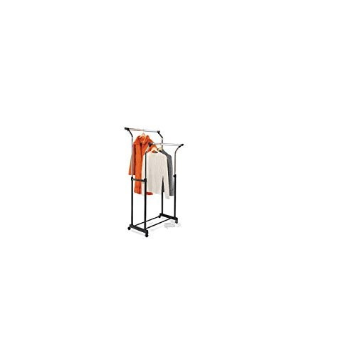 Honey-Can-Do GAR-01119 Adjustable Flared Double Garment Rack, Black/Chrome