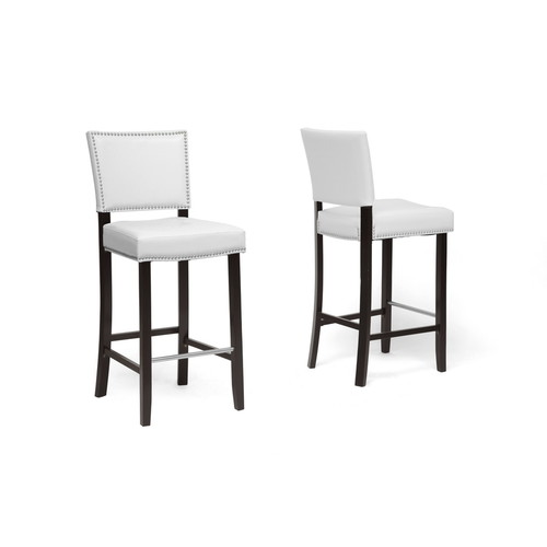 Baxton Studio Aries White Modern Bar Stool with Nail Head Trim-set of 2