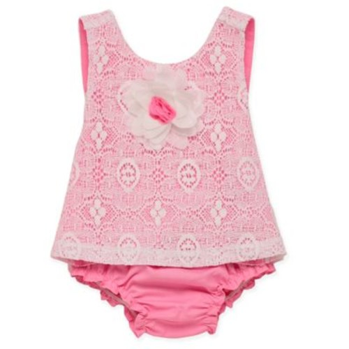 Baby Starters Size 12M 2-Piece 3D Rose Top and Diaper Cover Set in Pink
