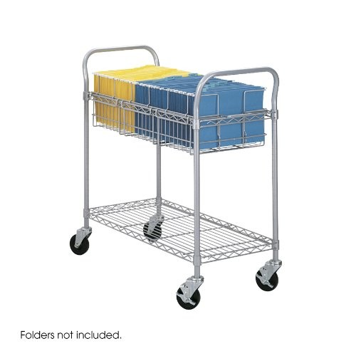Safco Products 5236GR Wire Mail Cart, Legal Size, Gray [36