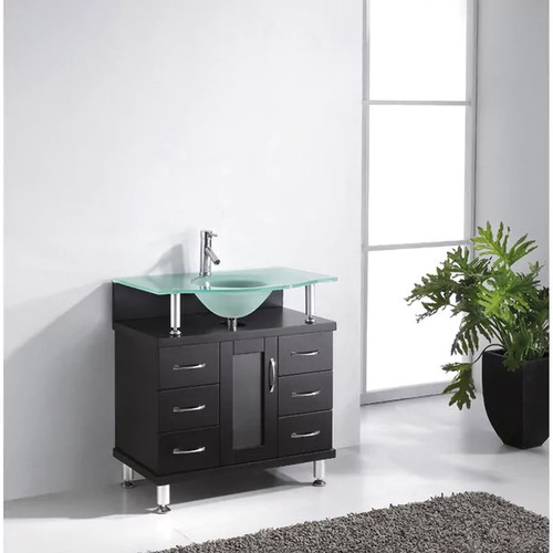 Virtu USA Vincente 32-inch Single Bathroom Vanity Set With Top Options [option : frosted glass - Espresso - Espresso Finish - Price in Cart]