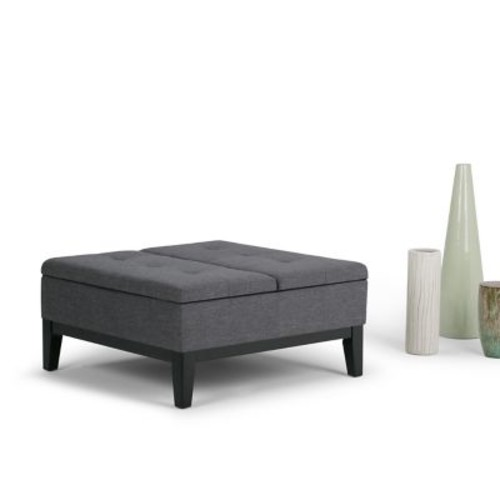 Dover Square Linen Look Coffee Table Storage Ottoman in Slate Grey (AY-F-15B-BL)