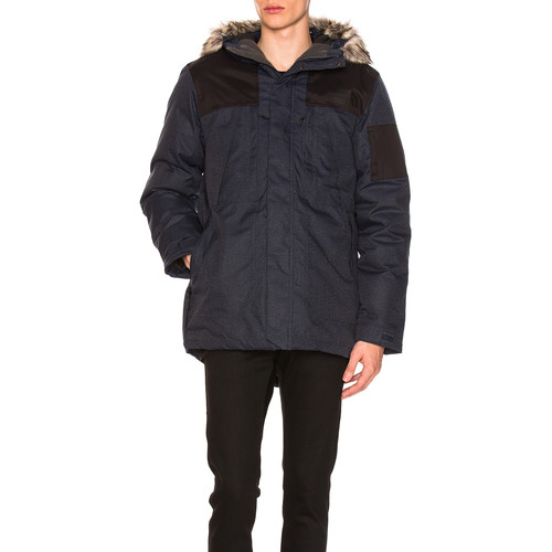 The North Face Outer Boroughs Parka With Faux Fur Trim in Urban Navy Heather & TNF Black